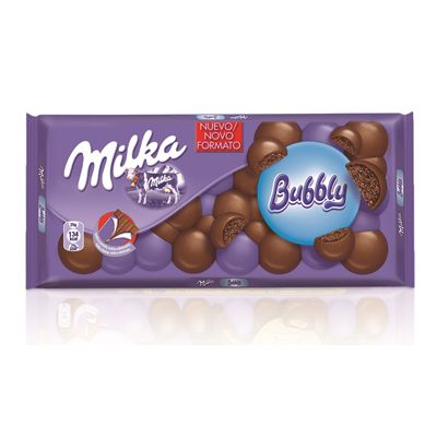 Chocolate Milka bubbly milk.